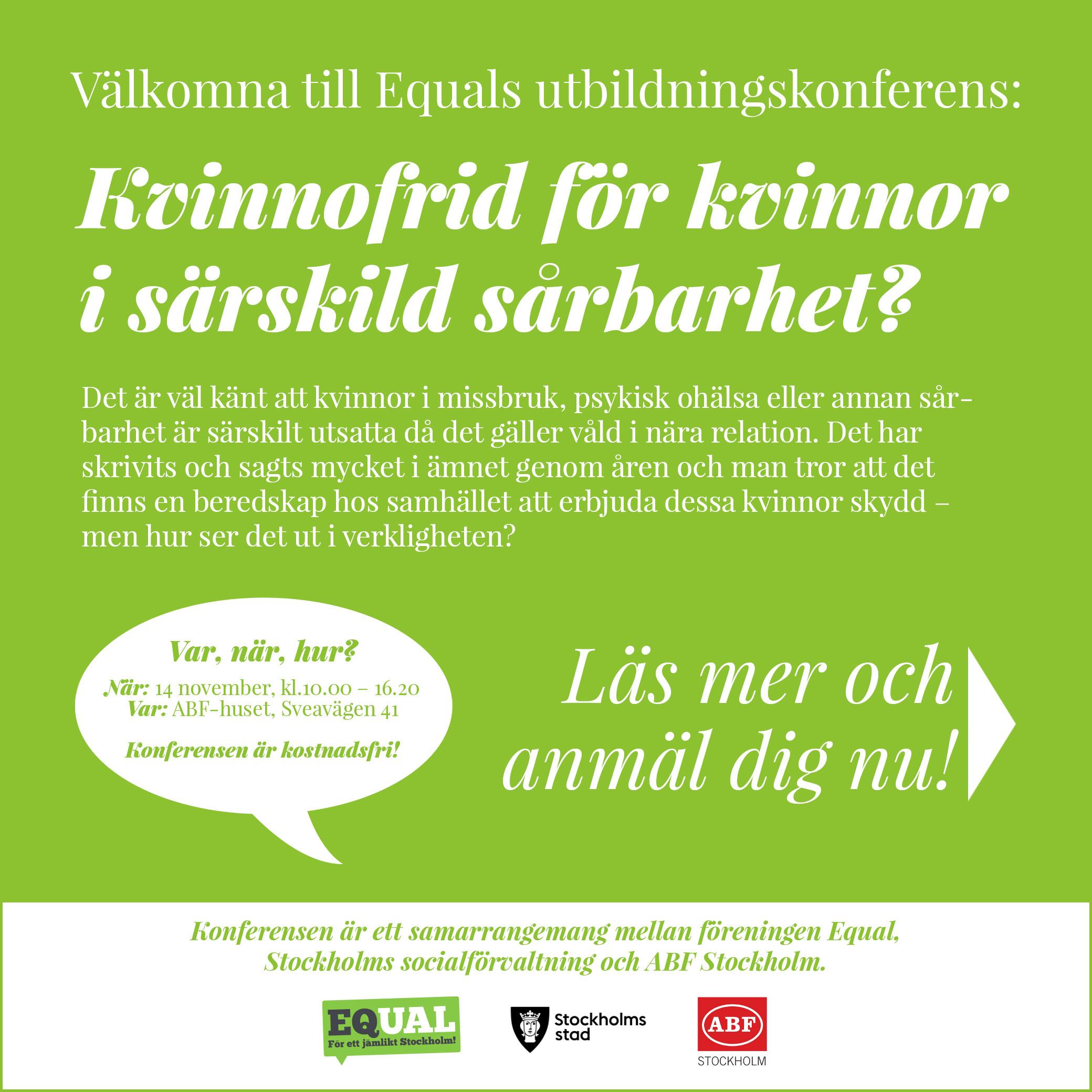 tbildningskonferense Kvinnofrid för kvinnor i särskild sårbarhet