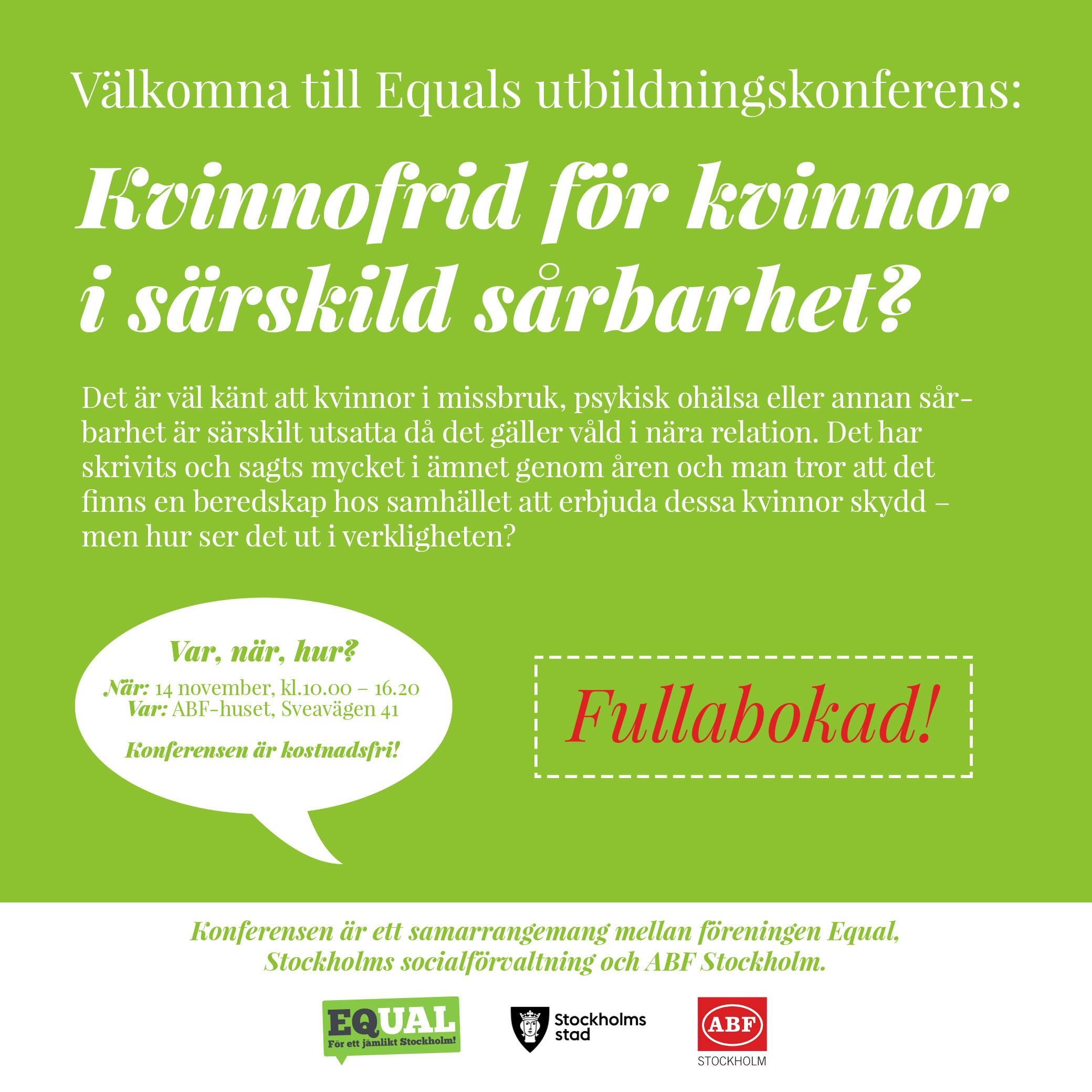 Utbildningskonferense Kvinnofrid fullbokad