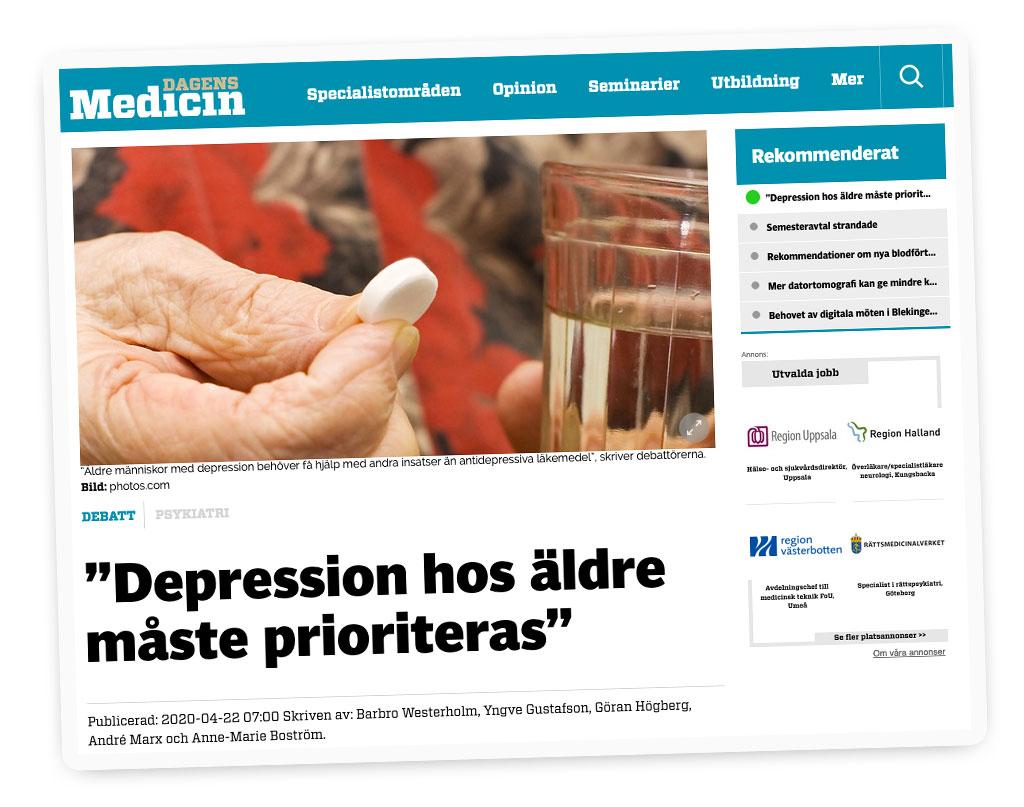 """Dagens Medicin: Dagens Medicin: """"Depression hos äldre måste prioriteras"""""""